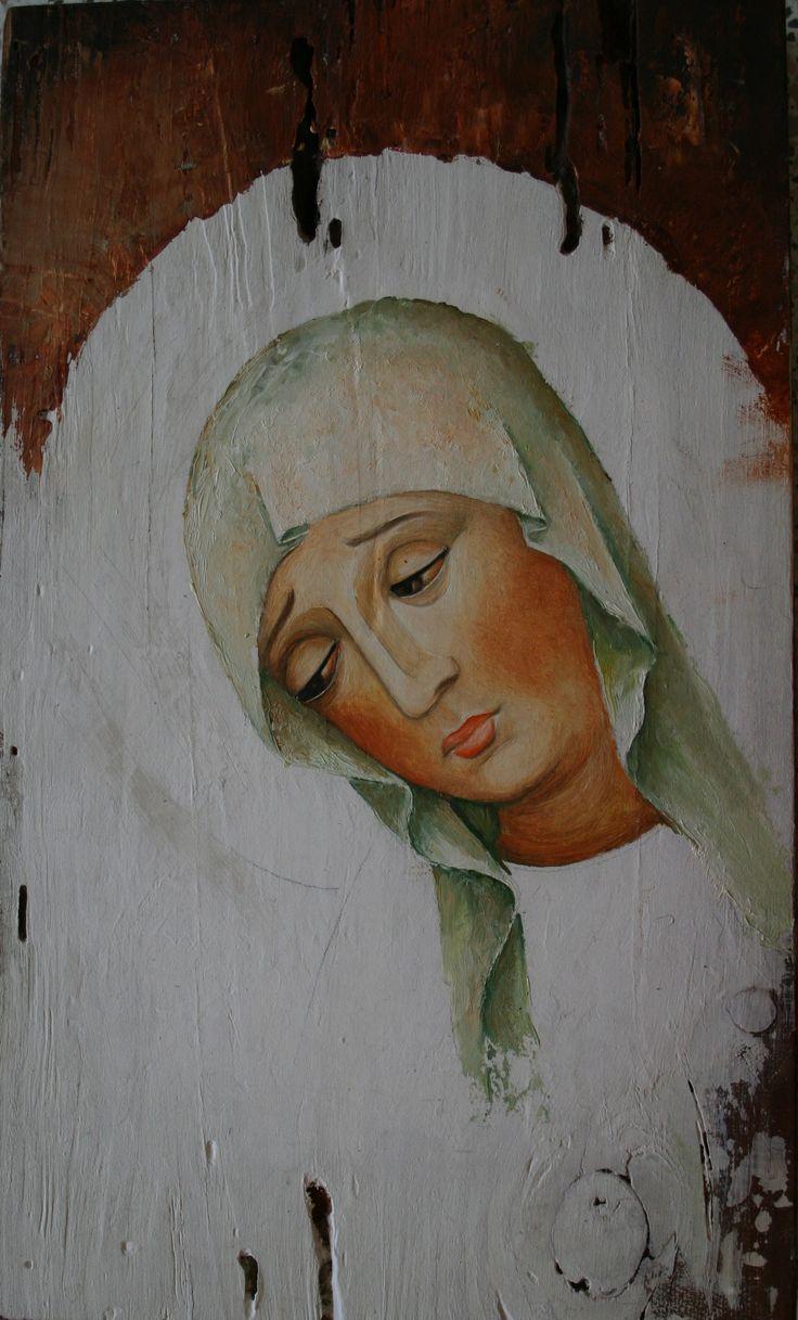MADONNA malowana na starej desce Danuta Rożnowska-Borys -BorysArt