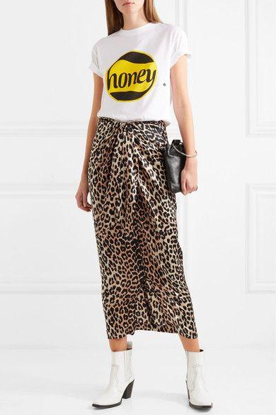 9671ddf97 ... Concealed zip fastening along back silk, elastane Dry clean. GANNI |  Calla wrap-effect leopard-print stretch-silk skirt | NET-A-PORTER.COM