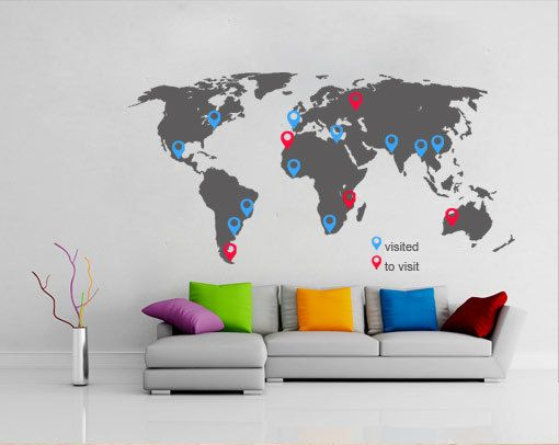 81 best for the home images on pinterest vinyls wall stickers world map decal with pins for housewares 12975 via etsy sciox Gallery
