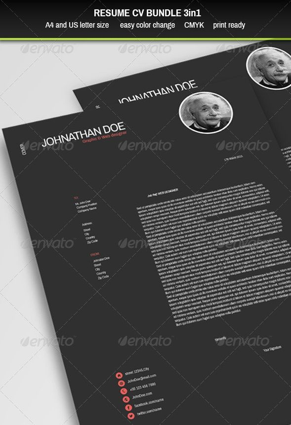 Awesome Resume/CV Templates | Graphic Design | 56pixels.com | Pintere ...