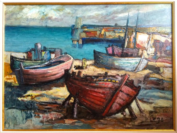 "DiegoVoci™ Years back, Diego painted this oil  ""BOOTE"" and sold it to Lee H's parents in Munich at an Officer's Club Exhibition. On the back it is marked purchased 2 July 1971. Currently Lee H. owns this bright and radiant depiction of ""Boats""(23 1/4 x 31""). For more on DIEGOs love of the South of Europe and the Ocean see on of our first posts: http://www.artifactcollectors.com/diego-history-4330818.html#7"