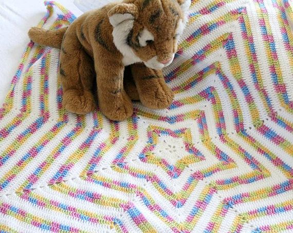 Crochet Rainbow Star Baby Blanket