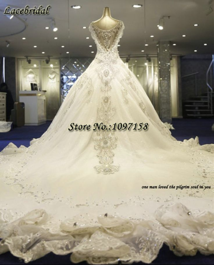 find more wedding dresses information about luxury stunning cathedral train royal lace and beading ball gown