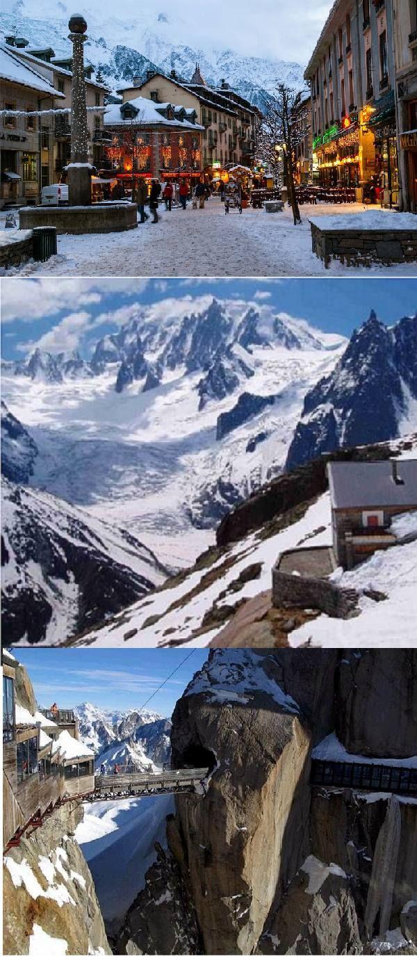 Chamonix-Mont-Blanc, Haute-Savoie, France. (Mont Blanc and Aiguille du Midi, French Alps)