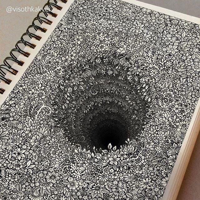 Artista cambojano faz improváveis desenhos de 'buracos florais'