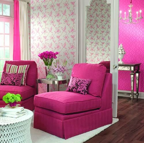 .: Home Interiors, Pretty In Pink, Rooms Decor Ideas, Living Rooms Design, Interiors Design, Pink Rooms, Pink Chairs, Girls Rooms, Houses Design
