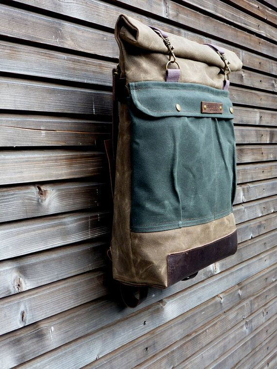 Waxed canvas rucksack / backpack with roll up top and waxed leather bottem COLLECTION UNISEX