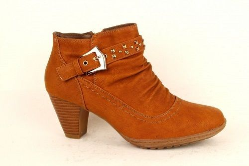 New Women's Cowboy Mid Heel Cuban Ankle Boots  Shoes Camel