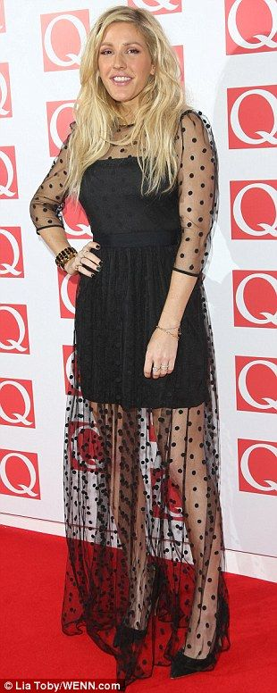 Ellie Goulding wearing Alice by Temperley to collect her award for Best Solo Act at the Q Awards.