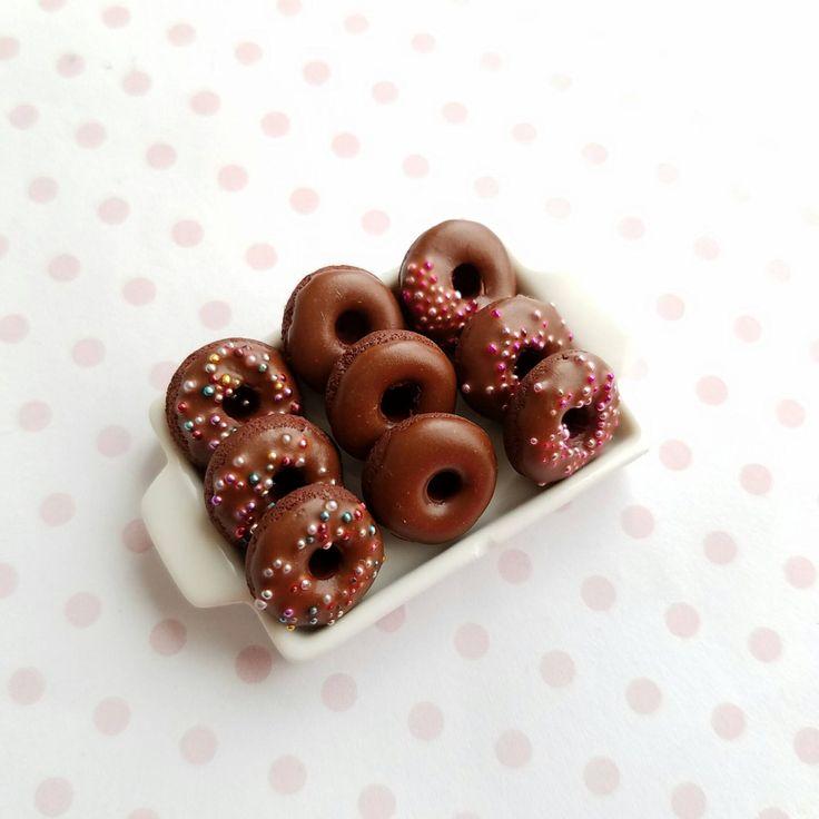 1:12 Dollhouse Miniature Double Chocolate Donut Tray