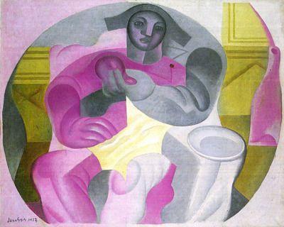 Sitting Harlequan by Juan Gris. Order from DEKORAMI as a poster, canvas print, mural. Zamów jako obraz na płótnie, plakat lub fototapetę na DEKORAMI.pl.