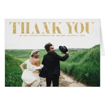 Faux Gold Glitter Typography Wedding Thank You Card - gold wedding gifts customize marriage diy unique golden
