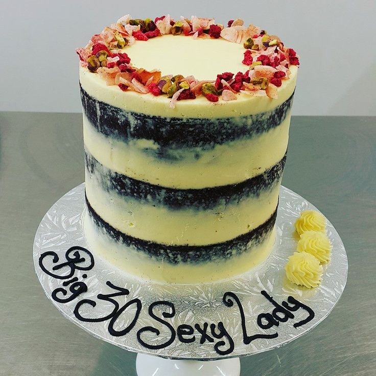 Cream Naked Cake with Fruit and Nut Sprinkle