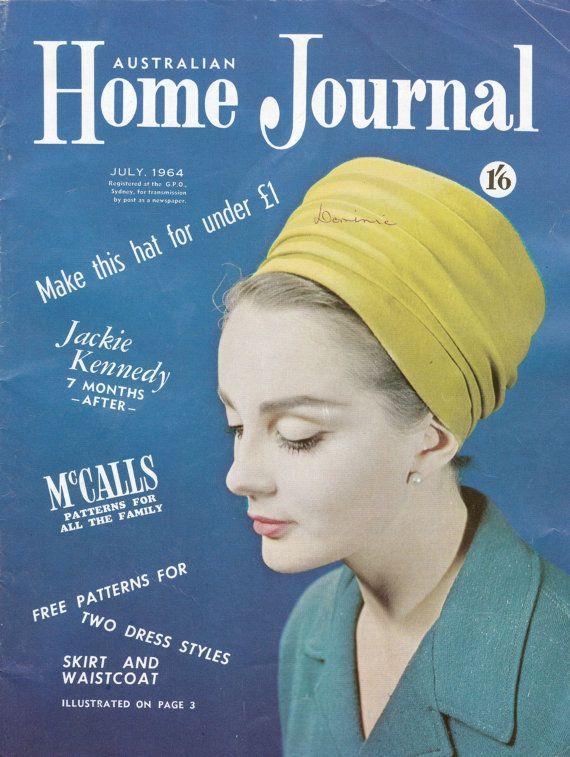 3 modelli di vestiti inutilizzati plus australiana Home Journal Magazine luglio 1964 emettere modelli TURBANTE cappello e illustrazioni di moda Vintage anni 60