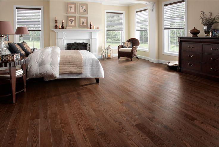 Planchers de bois franc Preverco - Chambre à coucher - Frêne, texture brossée, couleur Mambo