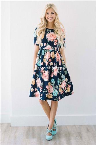 Navy Pink Sage Floral Modest Summer Dress   Cute Modest Clothes   Modest Dresses and Skirt for Church