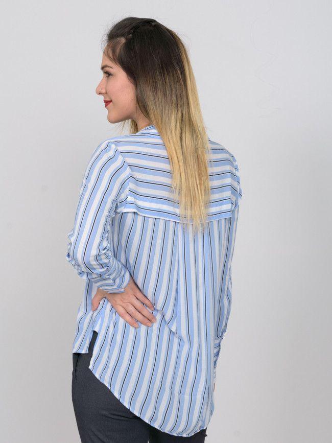 1e2b6fcbf4e7 Γυναικείο ριγέ λεπτό πουκάμισο MANGO με μακρύ μανίκι σε μπλε απόχρωση.