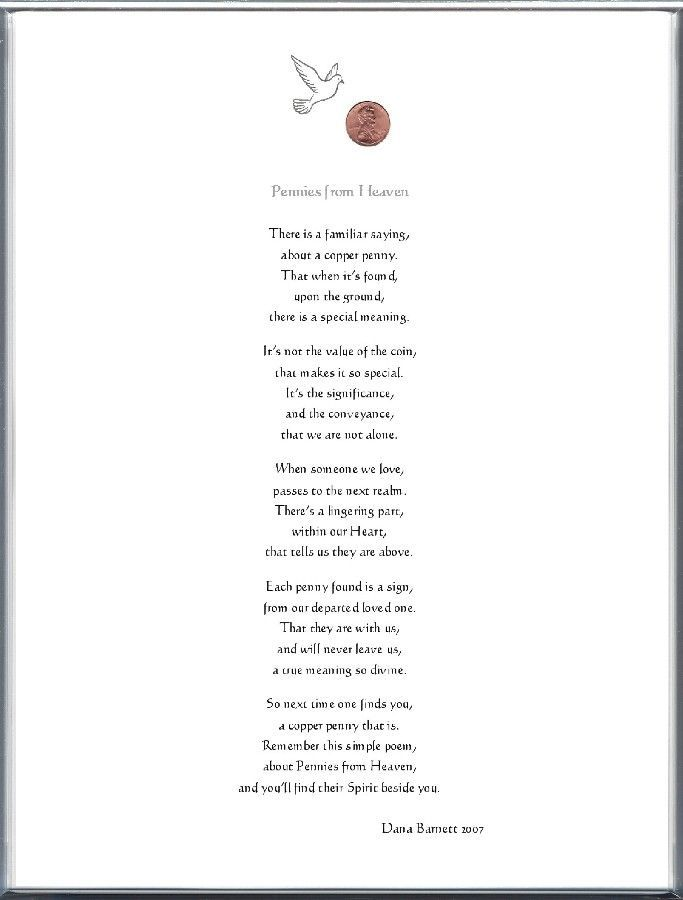 saying pennies from heaven | Keepsake Adult Remembrance 8 x 10 Poem: Pennies from Heaven Printed ...: