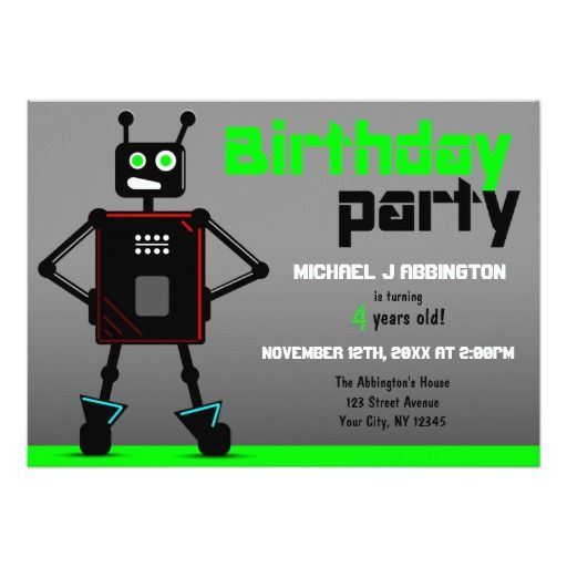 381 best images about Robot Birthday Party Invitations – Robot Party Invitations