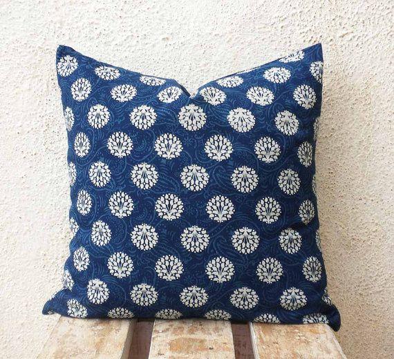 Modern Cushion Cover  White Motifs Printed on by PillowBazaar