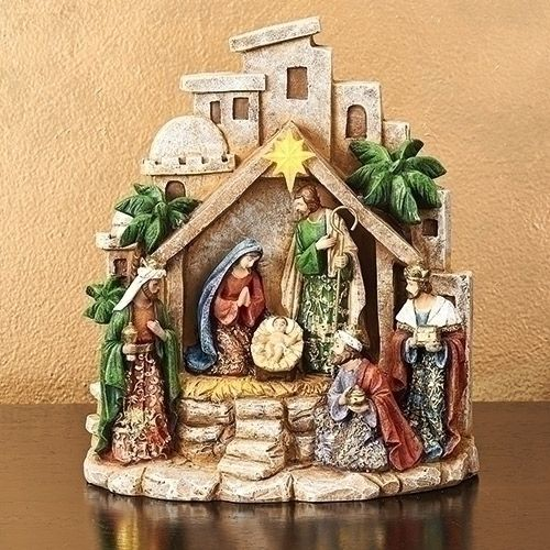 Gold Leaf Nativity with Llghted Star