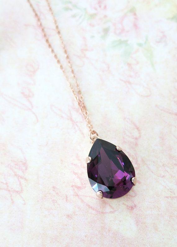 Rose Gold FILLED Swarovski Amethyst Crystal door ColorMeMissy