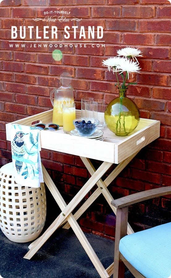 DIY Furniture | Get the plans for this West Elm inspired Folding Butler Tray Stand. It's perfect for serving drinks outdoors or in and folds up when not in use!