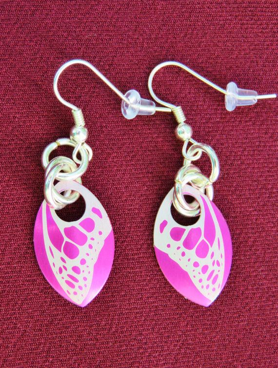 Pink Butterfly Wing Scalemail Earrings  by ofRingAndScale on Etsy