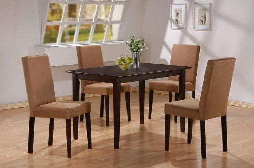 5pc Cappuccino Finish Dining Table & 4 Microfiber Parson Chairs Set: Rectangular Casual, Dining Rooms,  Boards, Casual Style, Casual Dining, Dining Legs, Dining Sets, Legs Tables, Dining Tables