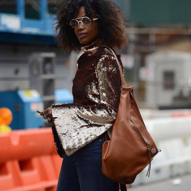Blouse: bell sleeves sparkle tory burch bag tory burch brown leather bag sequins glasses college