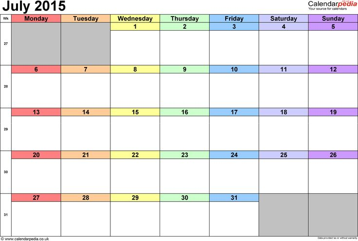 July Calendar for 2015 - Get an exclusive collection of July 2015 Calendar Printable Template, Word, Doc, Pdf and Holidays in US, UK, NZ, Canada, Australia.