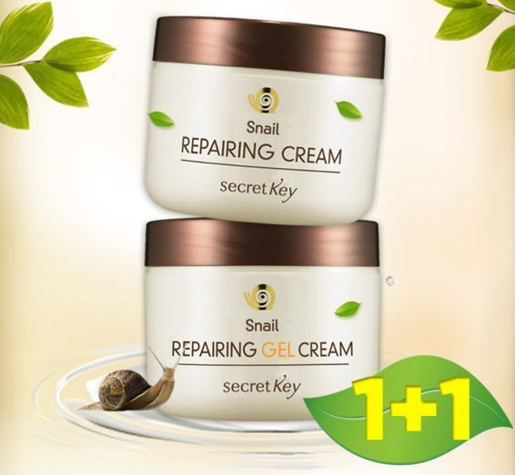 (1+1) Secret Key Snail Repairing Cream + Gel Cream (50g + 50g) #SecretKey