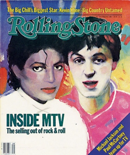 """Michael Jackson & Paul McCartney   December 8, 1983 (Courtesy of @Rolling Stone) This cracks me up, because now all we want is the music in """"Music Television"""" to return."""