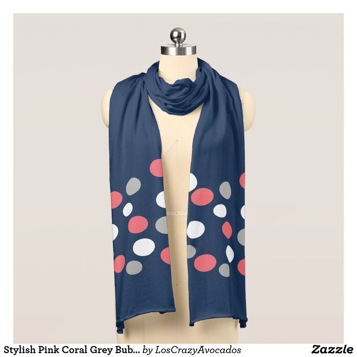 Stylish Pink Coral Grey Bubbles Balls Jersey Scarf
