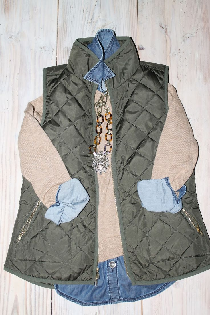 j.crew inspired outfit, old navy vest, sassy steals necklace, loft sweater, and banana republic denim shirt-- in different colors