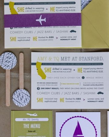 """The Invitation -The Invitation Ellie Snow of Hello Tenfold worked with the couple to create the travel-themed invitation suite. It began with the save-the-date, which was a map that detailed the couple's travels over the years. The text read, """"After chasing each other around the world ... Amy and TQ are on their way to getting married.""""  The invitation itself was formatted like a storybook, outlining the key parts of Amy and TQ's relationship."""