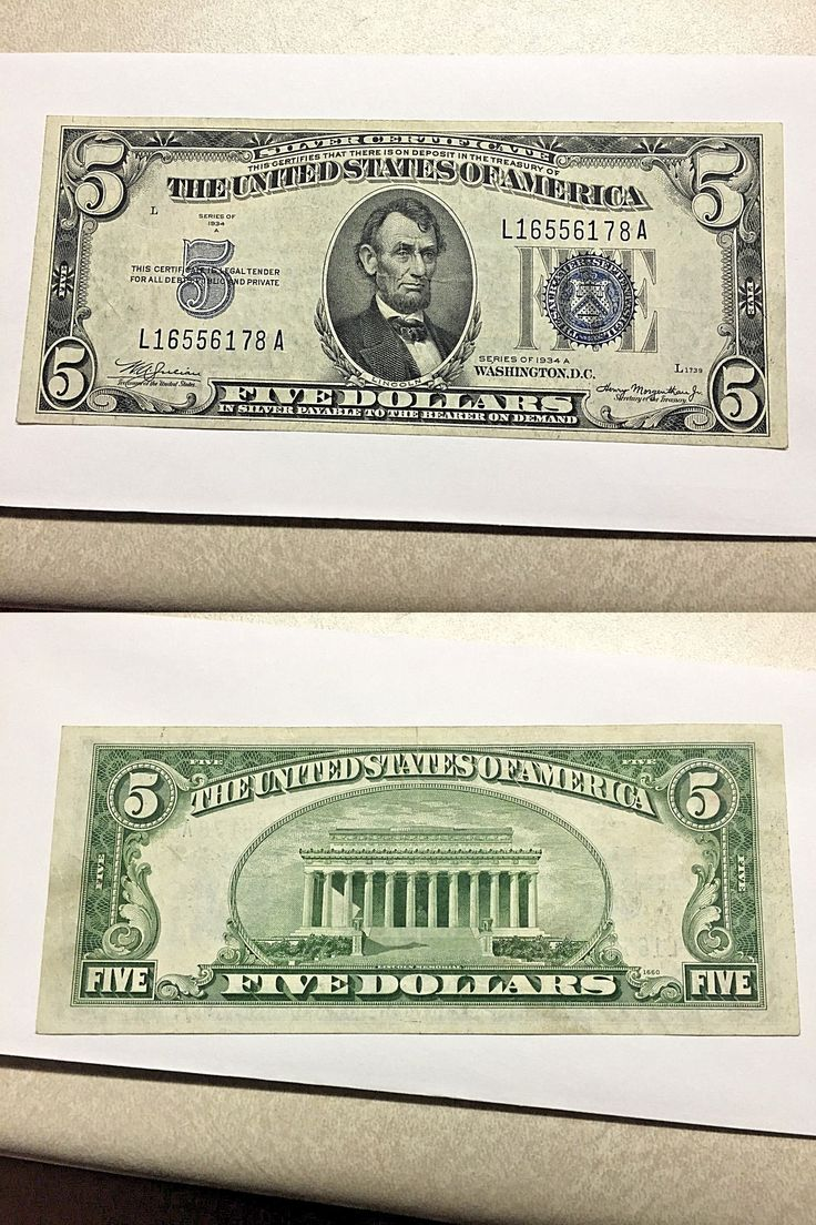 Paper Money: 1934-A 5 Dollar Silver Certificate Vf #1305 BUY IT NOW ONLY: $30.0