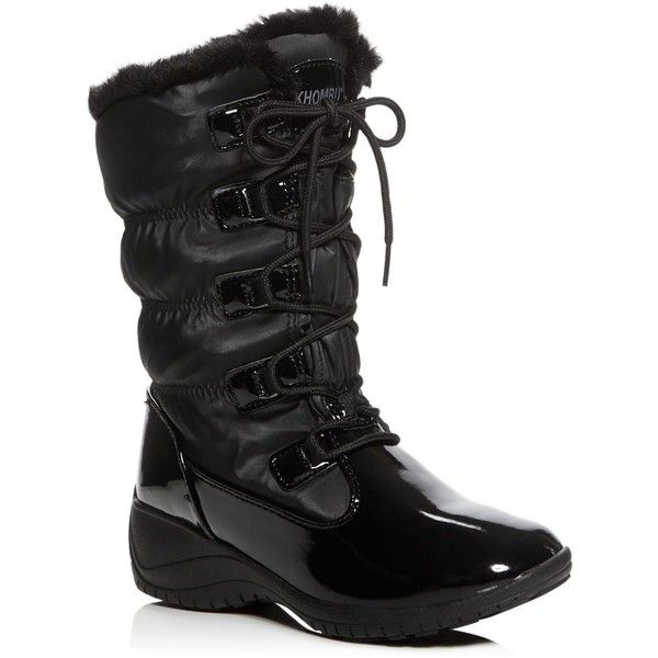 Khombu Ally Waterproof Cold Weather Boots (1 250 ZAR) ❤ liked on Polyvore featuring shoes, boots, black, water proof boots, black lace up shoes, waterproof shoes, lacing boots and khombu boots