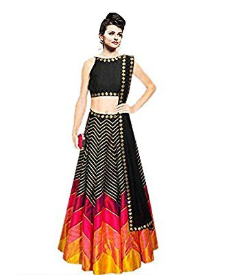 Z Fashion Women's Bhagalpuri Lehenga Choli (ZF-L 130_Black)