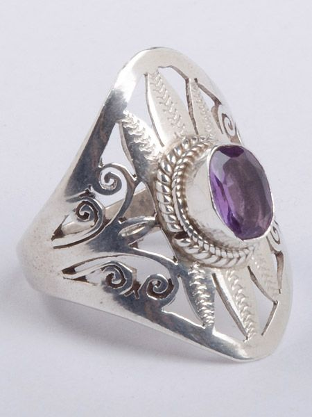 Gorgeous gemstone silver ring hand cut in Patan, Nepal. This ring is guaranteed 925 silver. Amethyst is the gemstone for February. Amethyst is variety of quartz  purple in color. The color is often caused by iron or other trace elements within the quartz.