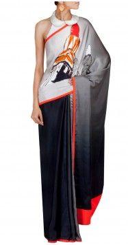 SATYA PAUL Grey and orange lipstick print sari