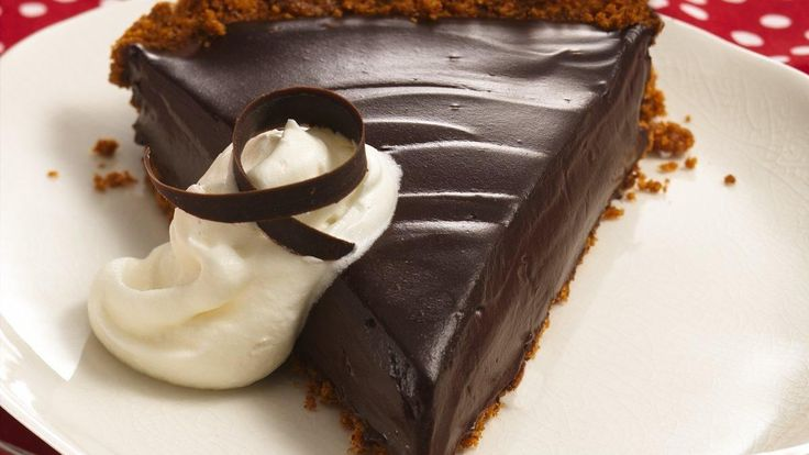 Creamy Dark Chocolate Pie  recipe and reviews - Two kinds of chocolate and a crust made with high-fibre cereal make a delicious dessert, perfect for special times.