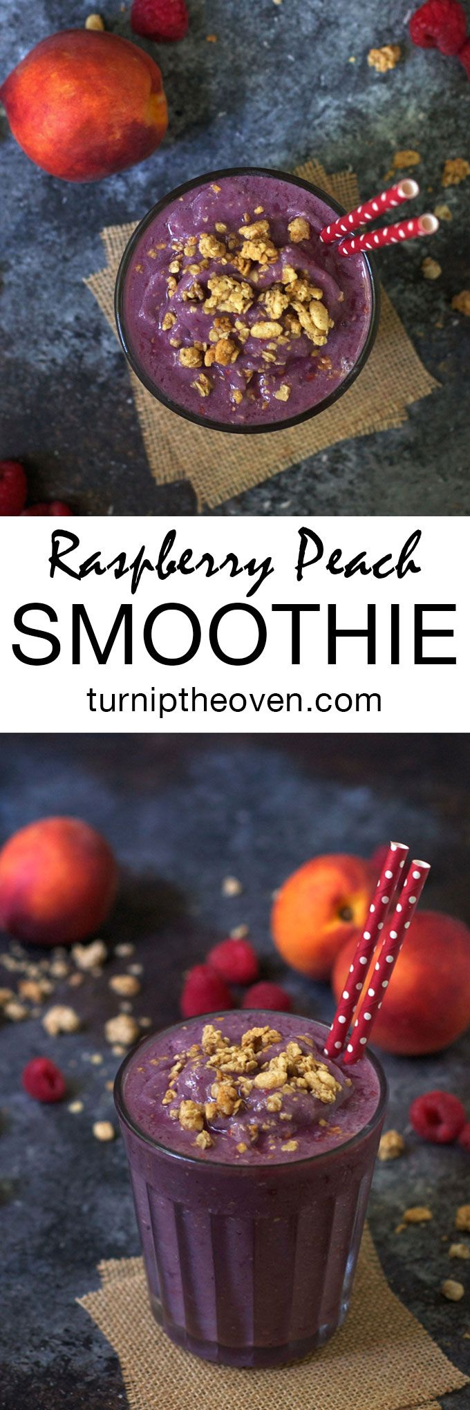 This gluten-free, vegan smoothie is bursting with juicy raspberry and peach flavor! Use either fresh or frozen fruit for a satisfying and healthy breakfast, any time of the year.