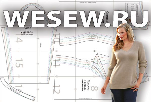 Womens V-neck pullover pattern for curvy girls
