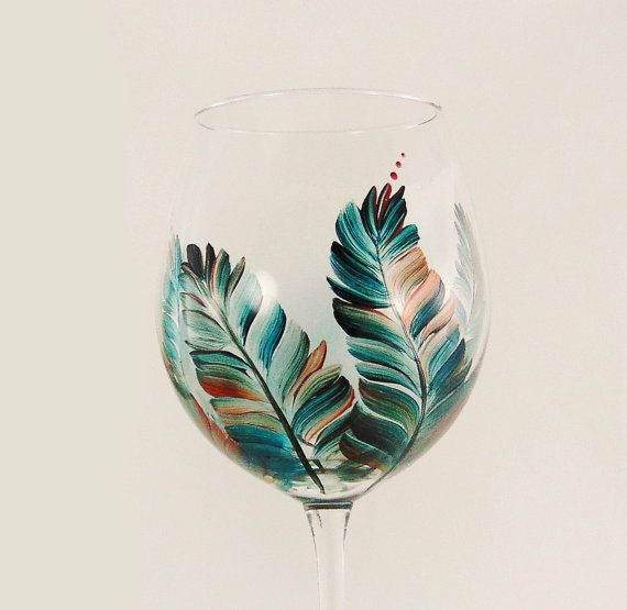Southwestern decor - hand painted wine glasses with turquoise and copper feathers, set of 6, by HandPaintedPetals www.handpaintedpetals.etsy.com #handpainted #painted #hand-painted #wineglasses #glassware #southwestern #turquoise #copper