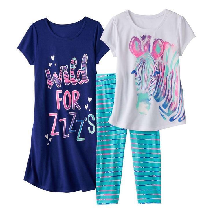 Girls 4-16 SO® Graphic Pajama Set, Size: S (7/8), Dark Blue