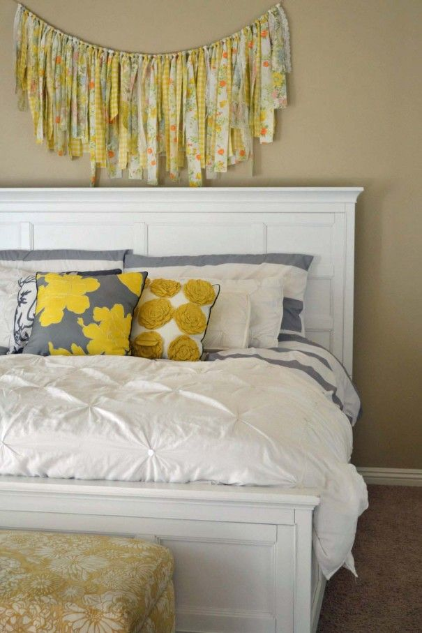 Fabric Garland Gray And Yellow Master Bedroom