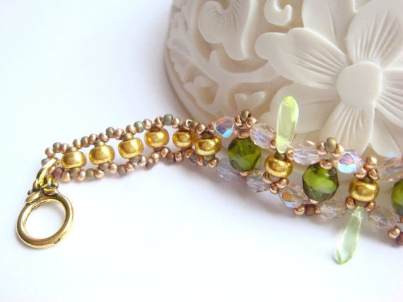 Soft gold plated bracelet Japanese Miyuki beads by Vasilisinsunduk