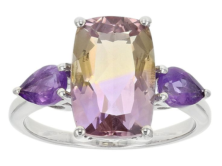 4.15ctw Rectangular Cushion Ametrine And .70ctw Pear Shape Brazilian Amethyst Silver Ring