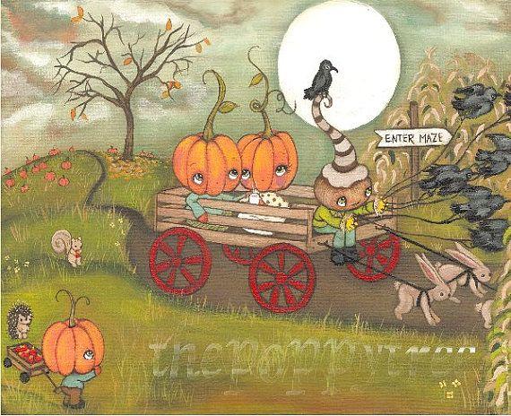 Pumpkin Print Fall Whimsical Hay Ride Harvest Moon Hot apple Cider Pumpkin Patch Corn Maze Raven Wall Art---Harvest Hay Ride
